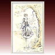"French Art Deco lithograph, ""Le Hors Oiseau"" Artist Signed, 1920's"