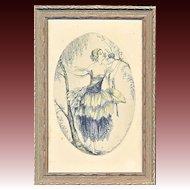 """Art Deco Engraving """"Les Petites Oiseaux"""""""