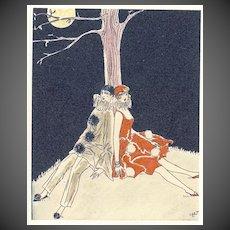 Pierrot and Columbine, French Pochoir Circa 1925