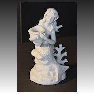 Bisque Mermaid Candleholder Circa 1980