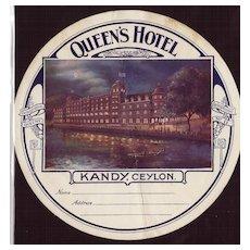 1927 Luggage Label Queen's Hotel Kandy, Ceylon