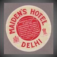 Maiden's Hotel, Delhi Luggage Label C. 1927