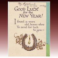 Art Deco Novelty New Year's Card Circa 1932