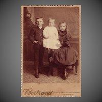 Cabinet Photograph C. 1880 Portrait of Three Children