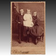 Cabinet Photograph C. 1880 Portrait of Three Children