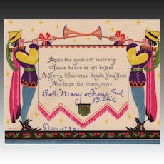 Art Deco Christmas Greetings Dated December, 1932