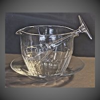 Regency era hand-blown, hand-cut lead crystal wine rinse bowl and under plate