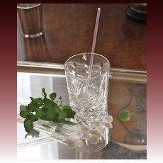 Hand-Blown Art Deco Mint Julep Straws/Stirrers, Set of 8