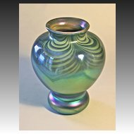 John Barber Hand Blown Iridescent Art Glass Vase C. 1982