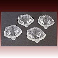 Set of 4 L.E. Smith glass co. Grape Leaf Salt Cellars