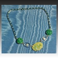 Art Deco Necklace Chromium, Enamel and Glass