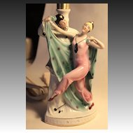 German Art Deco Boudoir Lamp 1920's Pierrot and Columbine