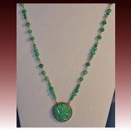 Jade and Czech Art Deco Glass Matinee Length Necklace