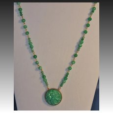 Jade and Czech Art Deco Glass Matinee Length Necklace