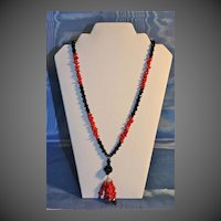 Red Coral and Black Czech beads Lavalier Necklace in the Art Deco Manner