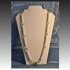Opera Length Necklace in Akoya Baroque Salt Water Pearls, Vintage Cloisonne and Czech Beads