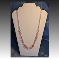 Czech Art Deco Art Glass Necklace Pale Rose Faceted and Acid Etched Beads