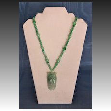Jade Matinee Length Cicada Pendant Necklace