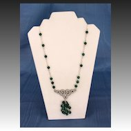 Egyptian Revival Malachite and Oxidized Silver Plate Opera Length Necklace