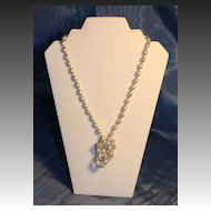 Opera Length Necklace in White Oval Faux Pearls
