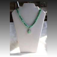 Jade Pendant Choker Length Necklace