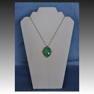 Art Deco Faux Jade Pendant on a Choker Length Chain