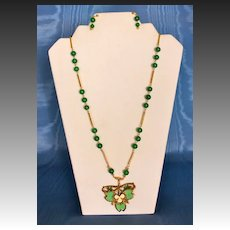 Dark Green Jade Lavalier Necklace with an Art Nouveau Clover Pendant and Pendant Earrings