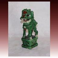 Late 19th early 20th Century Chinese Sancai Joss Stick Holder Foo Dog