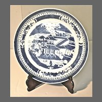 19th Century Chinese Canton Blue and White Dish