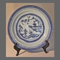 Chinese 19th Century Canton Blue and White Plate