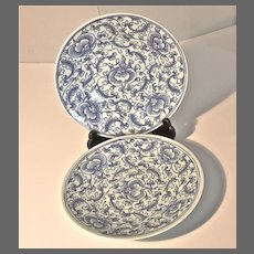 Pair of 19th Century Chinese Dishes in Celadon and Blue and White