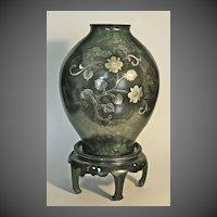 Contemporary signed Japanese Damascene bronze vase