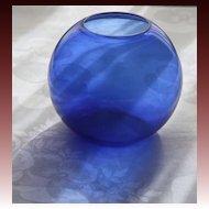 """Walter Von Nessen Art Deco Cobalt Blue 5"""" Ball Vase for Heisey Glass"""