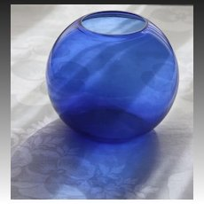 "Walter Von Nessen Art Deco Cobalt Blue 5"" Ball Vase for Heisey Glass"