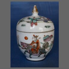 19th Century Chinese Export Famille Rose Porcelain Herb  Jar