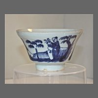 19th Century Chinese Blue and White Tea Bowls Three Immortals