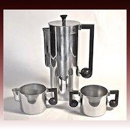 Bruce Hunt Art Deco 3-piece Chromium Coffee Set c.1935