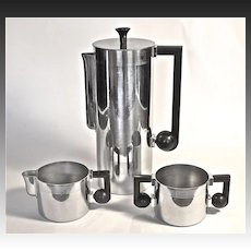 Bruce Hunt Art Deco 3-piece Chromium Coffee Set c.1935