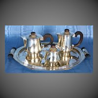 French Art Deco Silverplate Coffee/Tea Set Circa 1930's