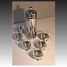 Chase Festivity Cocktail Shaker and 6 cups with glass inserts