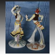 A Rare Pair of Art Deco Spanish Dancers by Emil Paul Borner