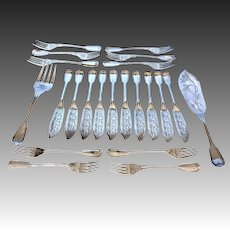 Early 20th Century Austrian Silverplate Fish Serving Set for 10