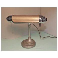 Art Deco Desk Lamp circa 1930's, Enamel and Chromium