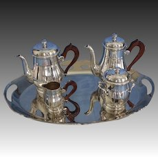 French Art Deco 4 piece Coffee and Tea Service with Tray