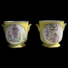 "Pair of Towle ""Chinoiserie"" Porcelain Cache Pots"
