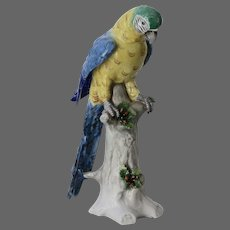 Sitzendorf Hand Painted Porcelain Macaw Parrot