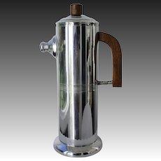 Keystone Art Deco Chromium and Mahogany Cocktail Shaker