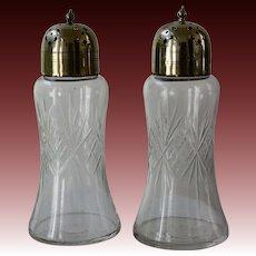 Pair of English Cut Glass Muffineers