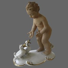 Putto Feeding His Geese
