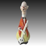 Goebel Art Deco Bass Player Musician Liquor Decanter Circa 1930's